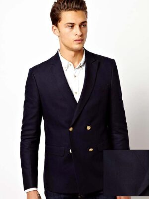 ASOS Slim Fit Double Breasted Blazer With Gold Buttons