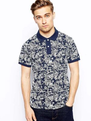 Jack & Jones Polo Shirt With Tonal Floral Print