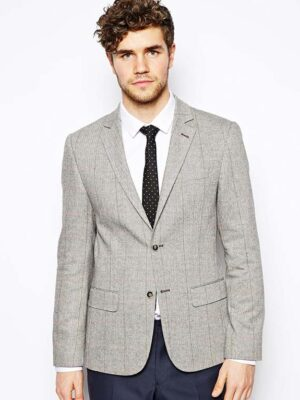 River Island Checked Blazer Wool Blend
